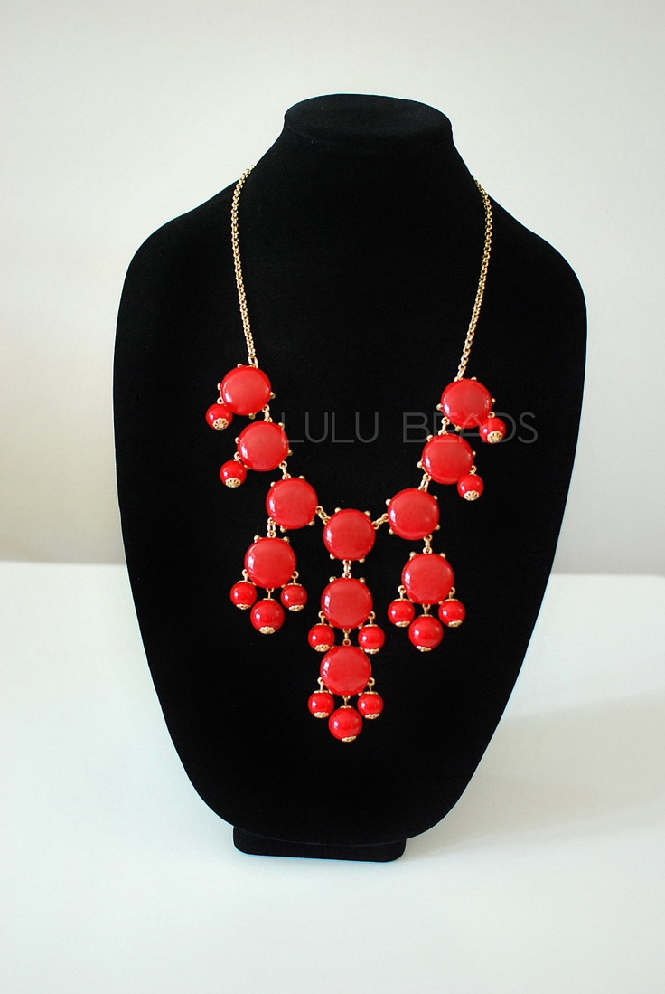 Just bought one of these. I am SO excited! | Red Bubble Necklace - Statement Necklace - JCrew Inspired. $15.99, via Etsy.