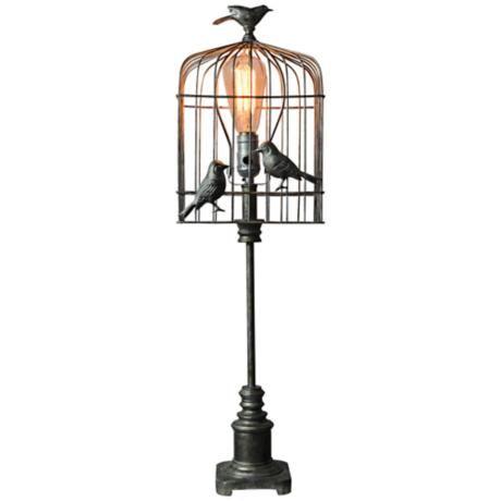 Rustic Aviary Metallic Bird Cage Table Lamp