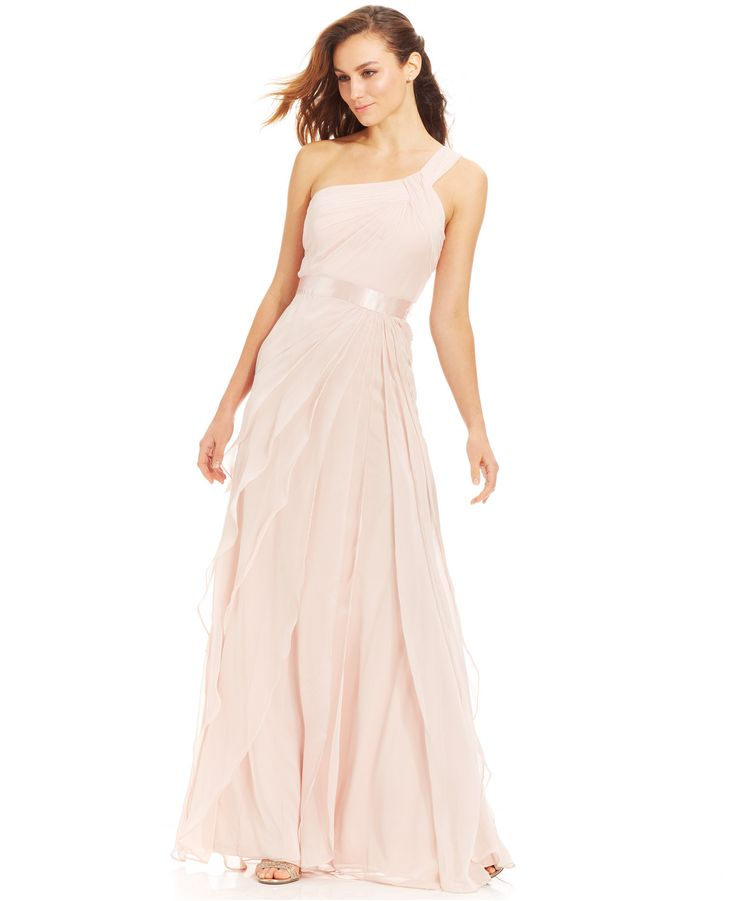 Macy S Wedding Gowns: Adrianna Papell Petite One-Shoulder Tiered Chiffon Gown