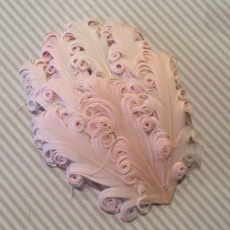 Curly Feather Pad - Ballerina Pink - Soft vintage pink peach tones-  FP128 - (1 piece) by isakayboutique on Etsy https://www.etsy.com/listing/107163745/curly-feather-pad-ballerina-pink-soft
