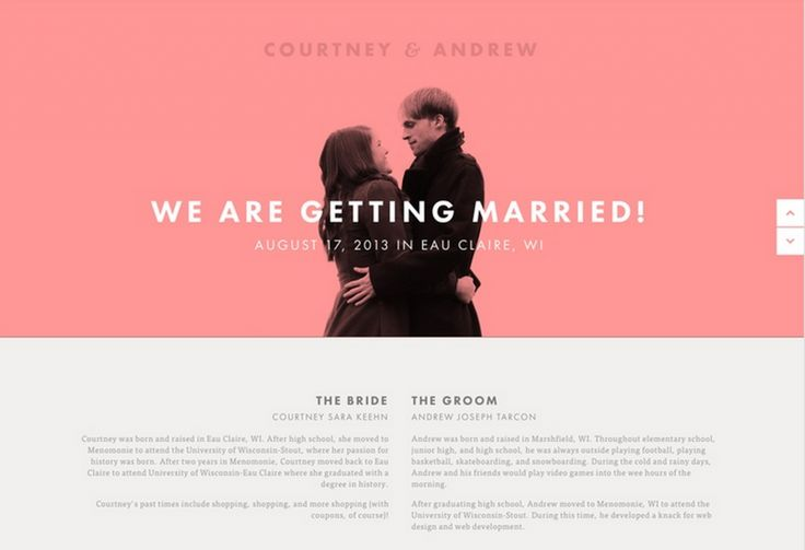 Updating the wedding website after the wedding ...