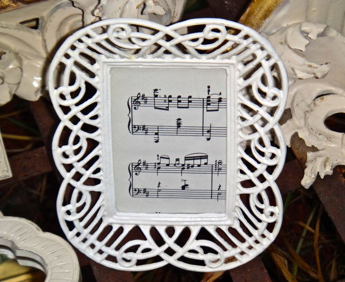 Frame, White Frame, Cast Iron Frame, Metal Frame, Filigree Frame, Picture Frame, Lattice Frame, Rustic, Cottage, Picture Frame, Sheet Music by CasaKarmaDecor, $18.90 USD