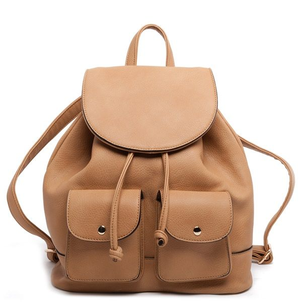 Brown backpack with two external pockets with silver buttons.