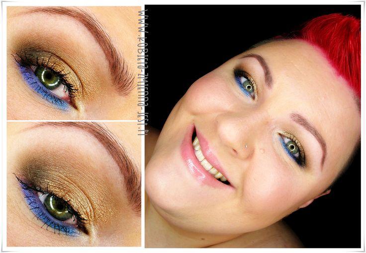 makijaż makeup brąz metaliczne złoto fiolet błękit świeży dzienny makijaż poztywny green eyes brown eyes makeupblogger blog eyes rozświetlający makijaż face