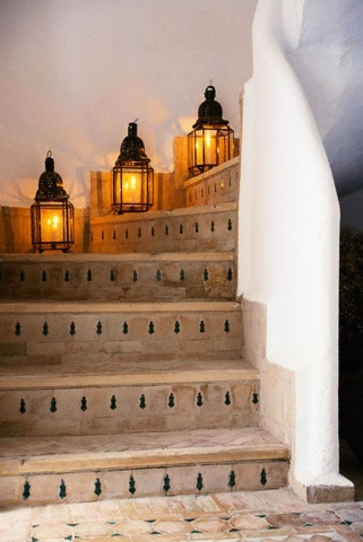 Exotic moroccan bedroom decorating light and deep purple colors - Lanterns On Stairs Spanish Moorish Moroccan Style Stairway