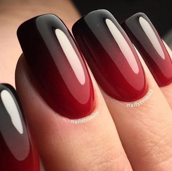 Ombre red and black nails