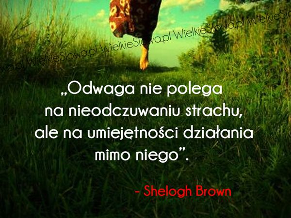 Odwaga nie polega na nieodczuwaniu strachu... #Brown-Shelogh,  #Odwaga, #Strach