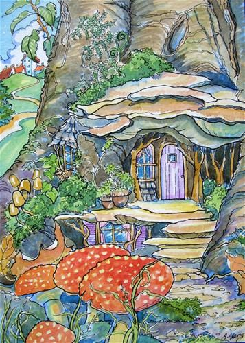 """Fairy House Just Outside of Town Storybook Cottage Series"" - Original Fine Art for Sale - © Alida Akers"