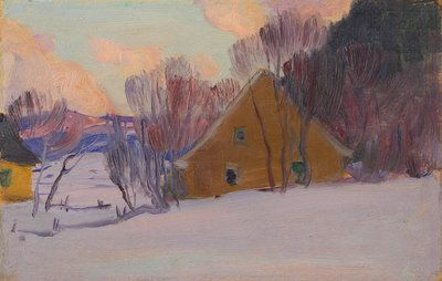 Winter Sunset by Clarence Gagnon Follow the biggest painting board on Pinterest: www.pinterest.com/atelierbeauvoir