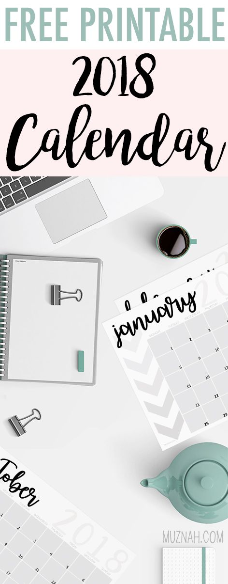 free 2018 calendar printable freebie instant download monthly january february march april may june july august september october november december