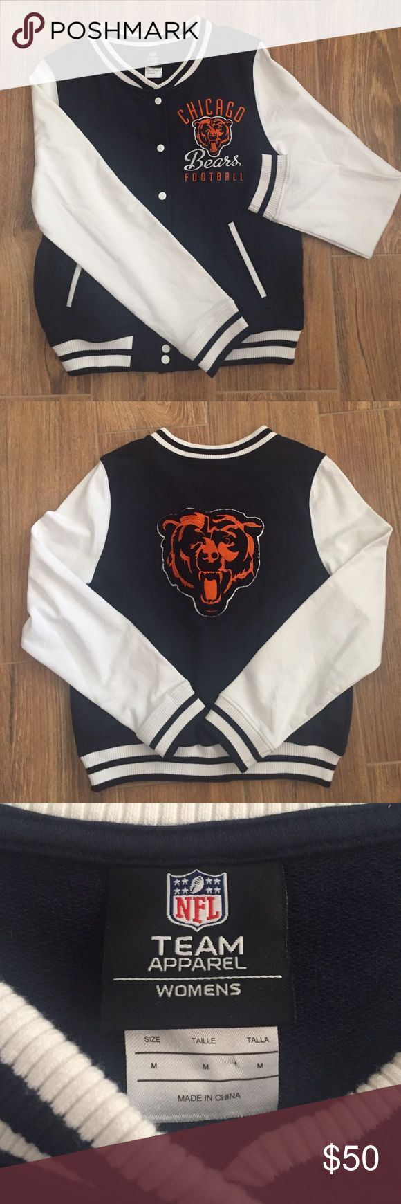 NFL Bears letterman jacket Authentic NFL Team Apparel Women's, Chicago Bears letterman jacket, size:medium. Brand new. Never worn. No tags. Bought it in Chicago! Football season is here!! NFL Team Apparel  Jackets & Coats