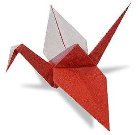 Origami Red and White Crane 1