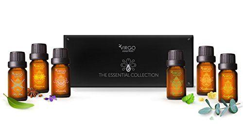 Essential 6 Oils Collection, 100% Organic Cinnamon, Frankincense, Peppermint, Lavender, Eucalyptus, & Tea Tree Aromatherapy Oils + Bonus Blending Guide, Set of 6, 10 mL Bottles by Virgo Essentials