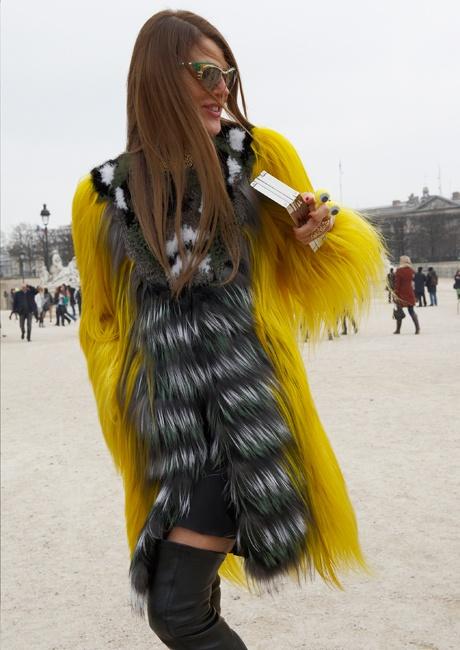 Anna Dello Russo's yellow Fendi fur coat. Takes a fierce one to rock this!