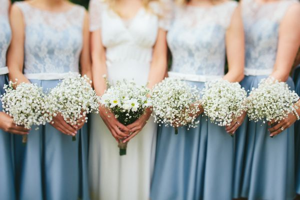 Kelsea Rose Cornflower Blue Bridesmaid Dresses Gypsophila Baby Breath Bouquets Flowers Relaxed Stylish Cornflower Blue Seaside Wedding http://fraserstewartphotography.co.uk/