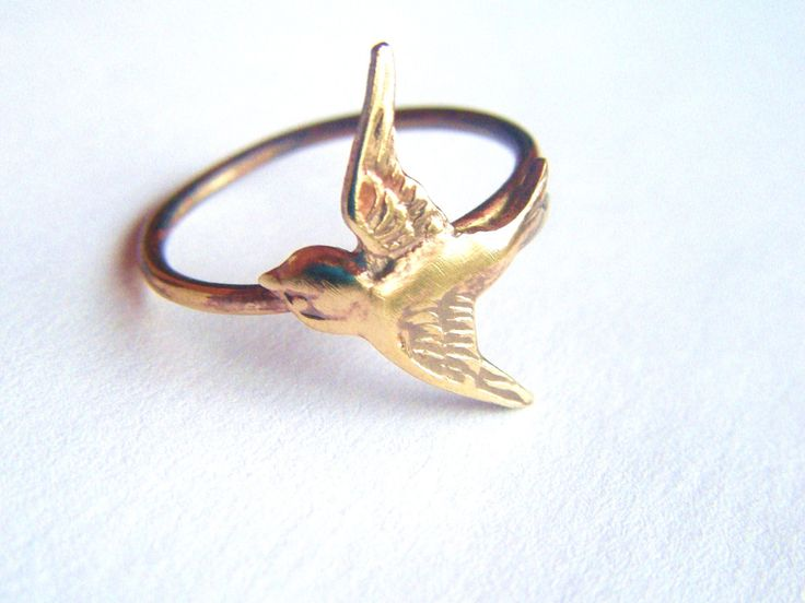 Brass Swallow Bird Ring on Antiqued Brass Band, Art Nouveau, Tattoo, Steampunk Free Shipping Worldwide. $19.95, via Etsy.