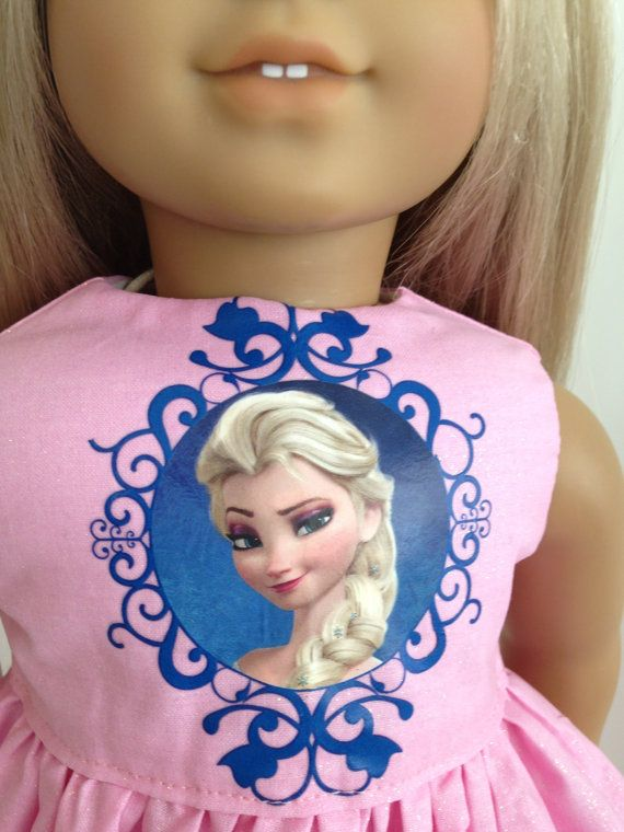 Pink Frozen Inspired Doll Dress and Sash for the American Girl Doll, featuring Elsa