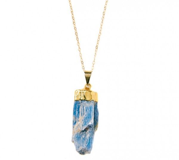 If you're a performer or a public speaker, consider donning a blue kyanite stone to improve communication skills. Kalba blue kyanite necklace, $89, standingo.format.com.