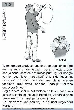 Teken op papier of op het (digi)bord een liggende 8; met de ene hand, met de andere hand en met twee handen tegelijk. Begin in het midden en maak de beweging links omhoog. Houd je hoofd stil; alleen de ogen kijken mee met je hand(en). De Liggende 8 kan ook vrij in de lucht uitgevoerd worden, kijkend naar een opgestoken duim of vinger. #ligende #acht #braingym #kinesiologie