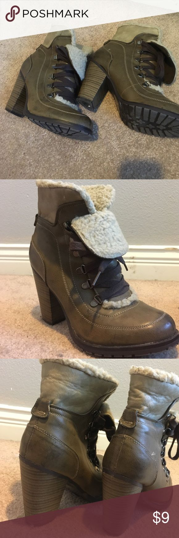 """50% off bundles Super cute ankle booties 2"""" heel lace up. Gently loved size 9 but fits more like 8 1/2 Moving sale everything must go I will accept 50% of bundles of 5+ items and any offers made. Closet will be closed April 1st or sooner! Not listed brand Free People Shoes Ankle Boots & Booties"""