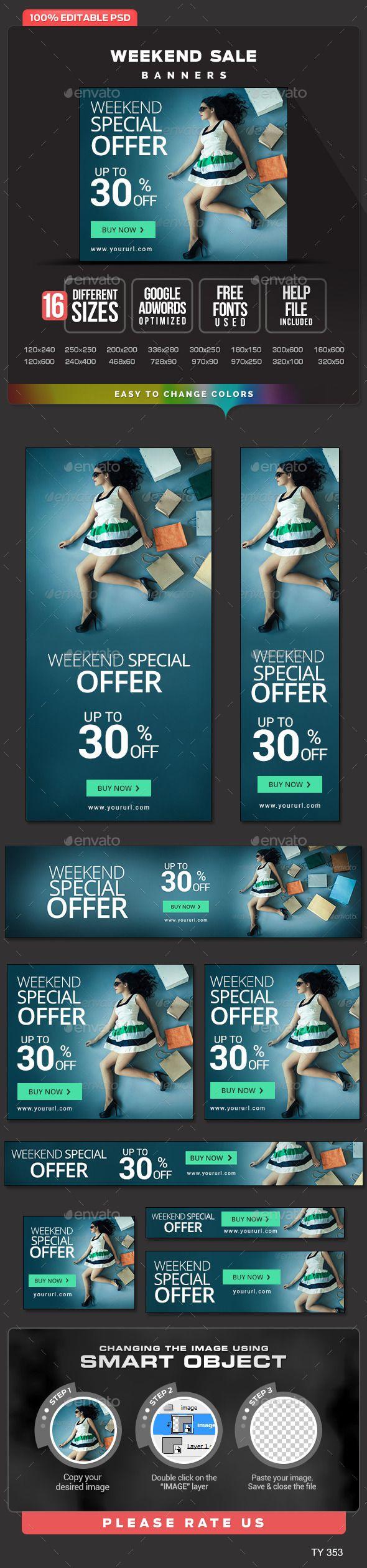Weekend Sale Banners Template PSD #banner #webbanner #design Download: http://graphicriver.net/item/weekend-sale-banners/10667359?ref=ksioks