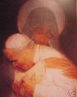 Painting of Virgin Mary Embracing Pope John Paul II