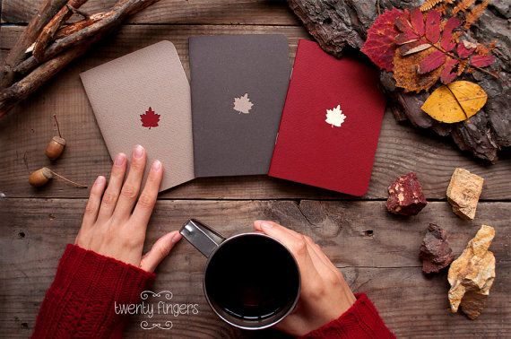 Forest notebook with a carved pattern  Maple-leaf  set of 3
