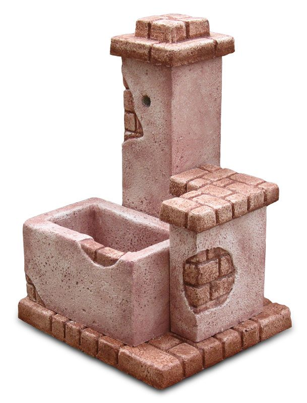Fontana da giardino modello Fonte del casale, finitura: rosa antico. Disponibile in diverse finiture.