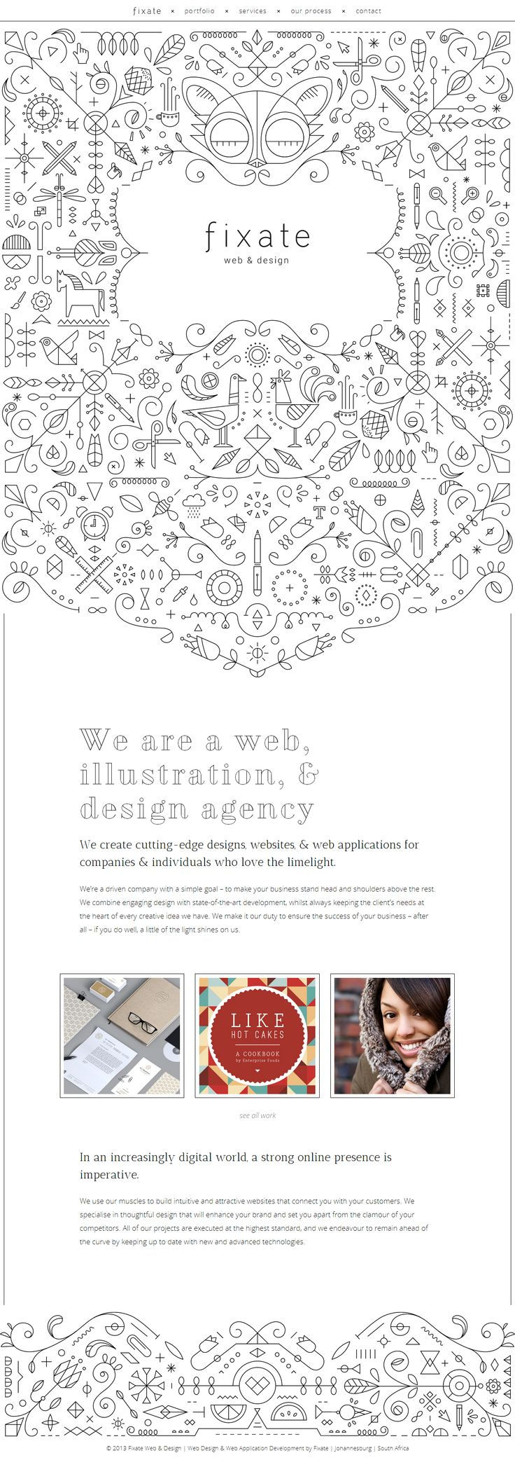 crazy cool illustration used to make a simple yet dynamic site http://fixate.it/