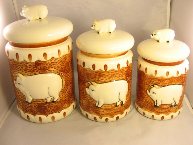 Vntg 1983 set of 3 canister the decorative kitchen pig by Pig kitchen decor