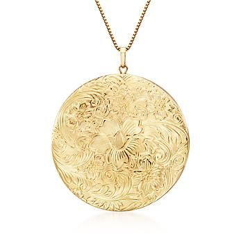 "Ross-Simons - Italian 14kt Gold Over Sterling Silver Etched Locket Necklace. 18""…"
