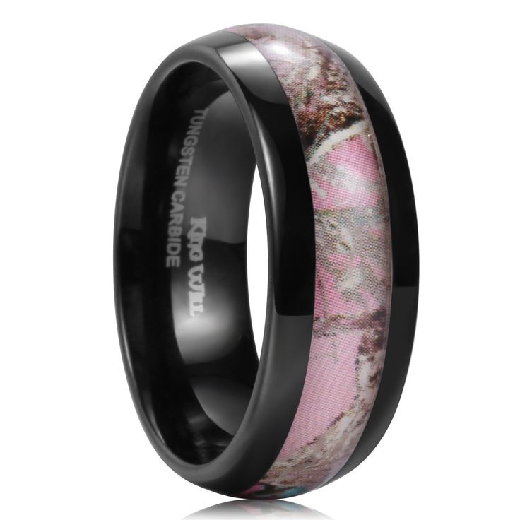 "King Will Mens 8mm Black Tungsten Ring Wedding Band Pink Camo Hunting Camouflage High Polish Comfort Fit 9. Genuine Tungsten Carbide (Cobalt Free). Classic, Heavy and Durable. Cobalt Free and Hypoallergenic and Scratch Resistant. King Will's jewelry box, save your giftwrap service fee, and help you store the ring much safer and longer. If you have any question, please post into ""Customer Questions & Answers"" at the bottom of this page."