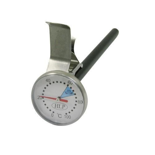 The HLP short coffee thermometer offers a food grade finish and suits jugs up to 600ml. The dial is 35 mm and stem is 140mm. Temp Range is 0 to 100 deg C and has a coloured band showing the best temperature for milk. Comes with clip & protective sleeve. Packaged in a hangsell blister pack for retail.