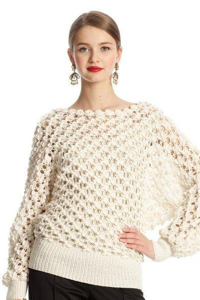 Пуловер-доломан объемным узором крючком от Оскар де-ла Рента. - Жакет.Полувер.Свитер