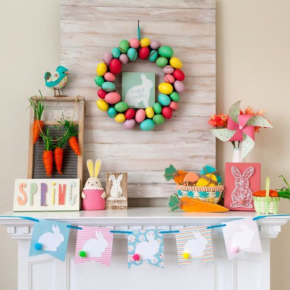lots of inspirational photos of pretty easter mantel decorations it will help you decorate your - Easter Decorations