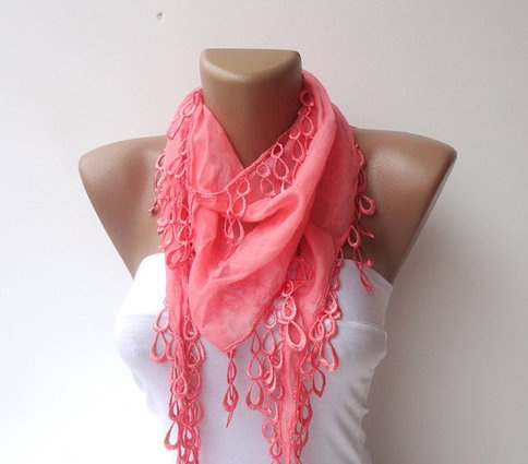 women scarf ,cotton with lace scarves, pink scarf  neckwarmer ,cowl , elegant  unique Pink scarves