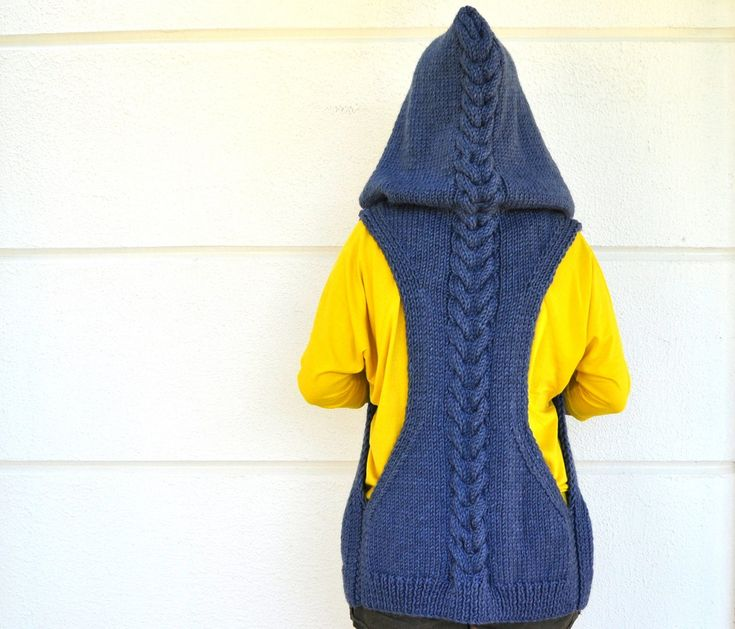 Hooded Chunky Knit Sweater Cardigan in a Sporty Colorblock, via Etsy.