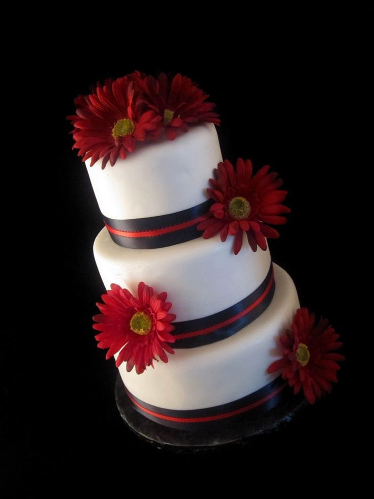 Black White and Red Gerber Daisy Wedding Cake by The Twisted Sifter