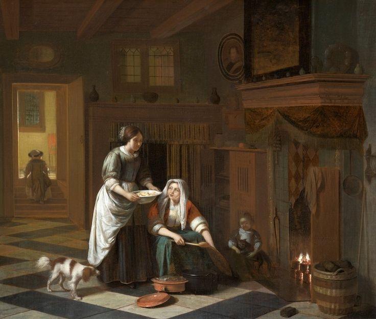 Pieter de Hooch - The Fireside, circa 1670–1675. North ...