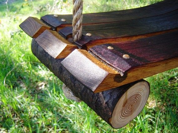 Wine Barrel Stave Tree Swing by CoolHollowFarms on Etsy