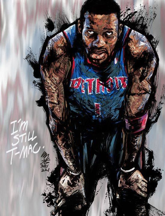 Tracy McGrady remained a fan favorite even in his declining years, especially in Asia and this great piece by South Korean artist Min-suk Kim proves it.