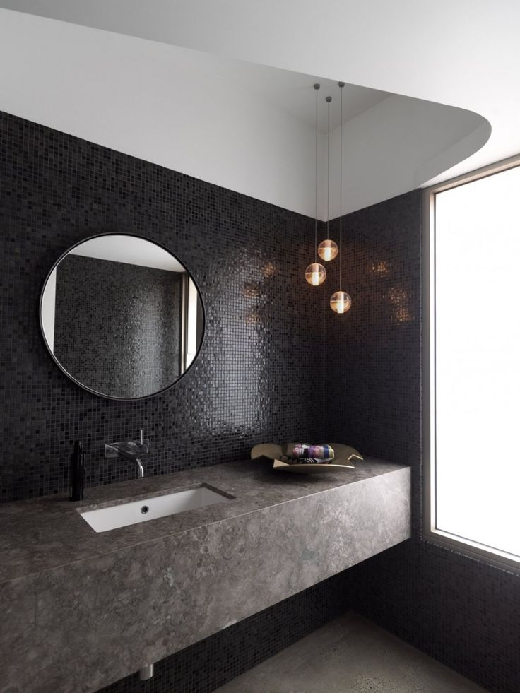 Shimmering Mosaic Tile Wall, Round Mirror, Cluster Of Pendants (rather Than Wall  Mount Lights).