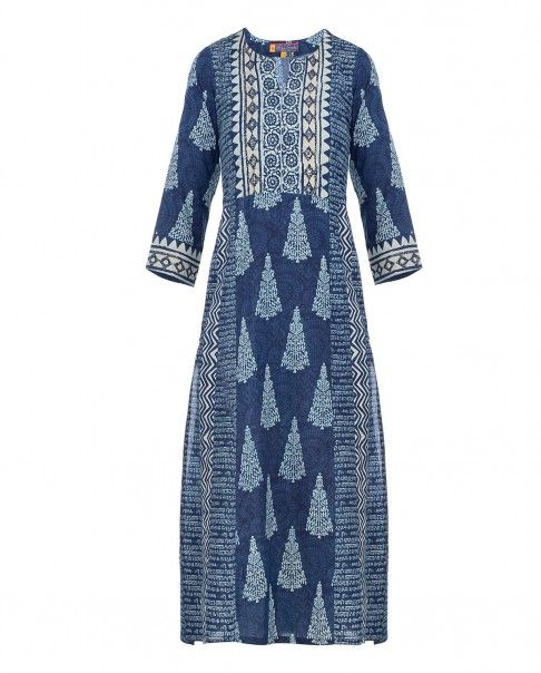 Navy Blue Tunic with Block Prints