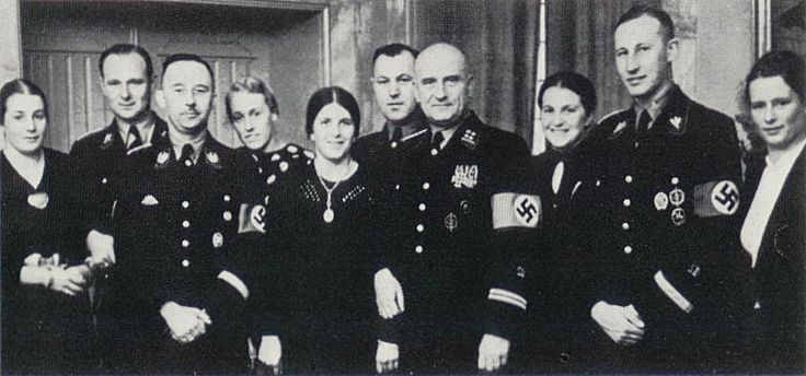 January 29, 1937. At the family holiday, Lieutenant Colonel Richard Prashnou, Lina Heydrich, Karl Wolff, foreman reichsfuehrer Heinrich Himmler.