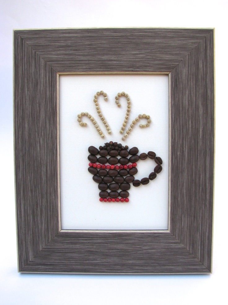Coffee bean fine art -5x7 Eco friendly frame - Kitchen decor with spices and whole beans. via Etsy