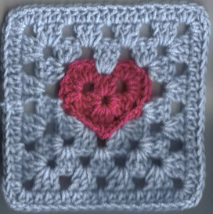 """Granny Heart Square (6""""x6"""" inches) (2 images) - Free Original Patterns - Crochetville"""