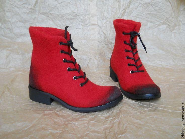 Купить Валяные ботинки ROSSI waxed - ярко-красный, ботинки женские, ботинки валяные