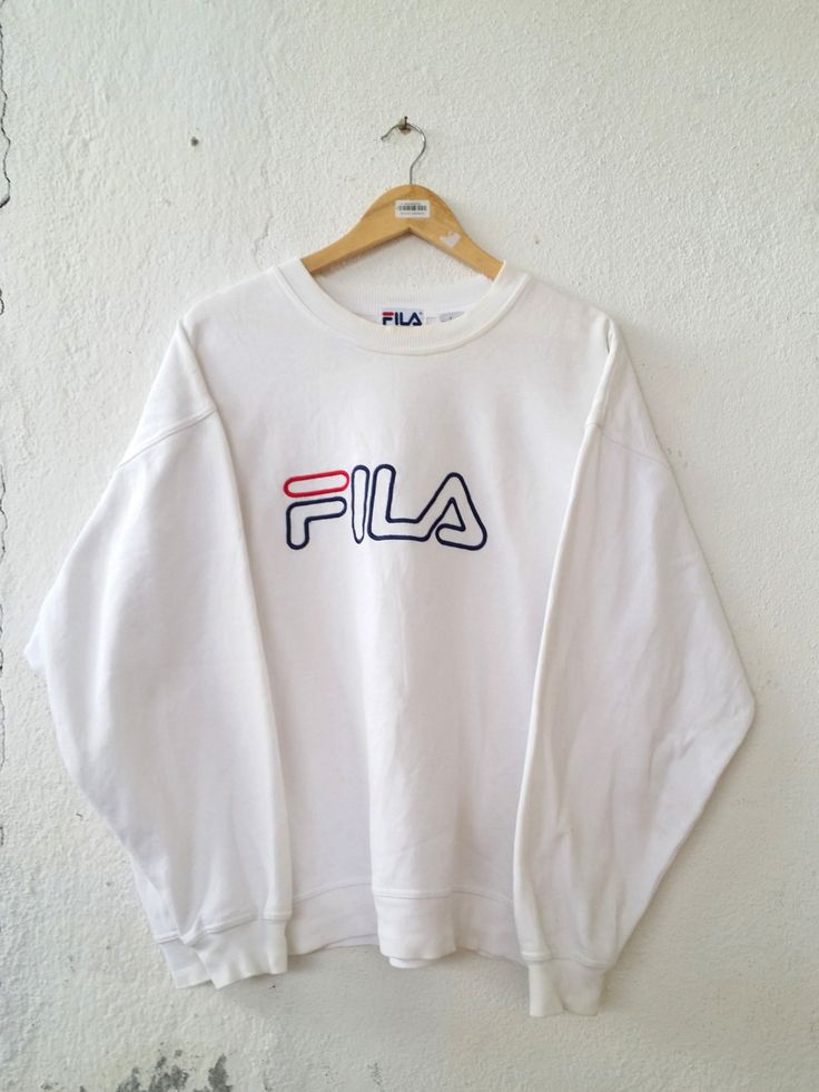 Vintage 90's FILA Roundneck Sweatshirt with Big Logo Spell Out Embroidered Sweater Jumper Pullover Swag Streetwear Adult size L VSS146 by fiestorevintage on Etsy