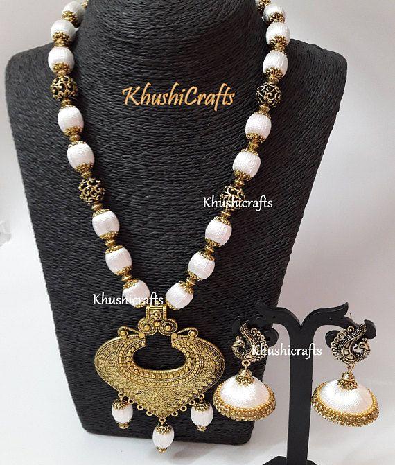 White shaded Silk thread Jewelry with designer Pendant