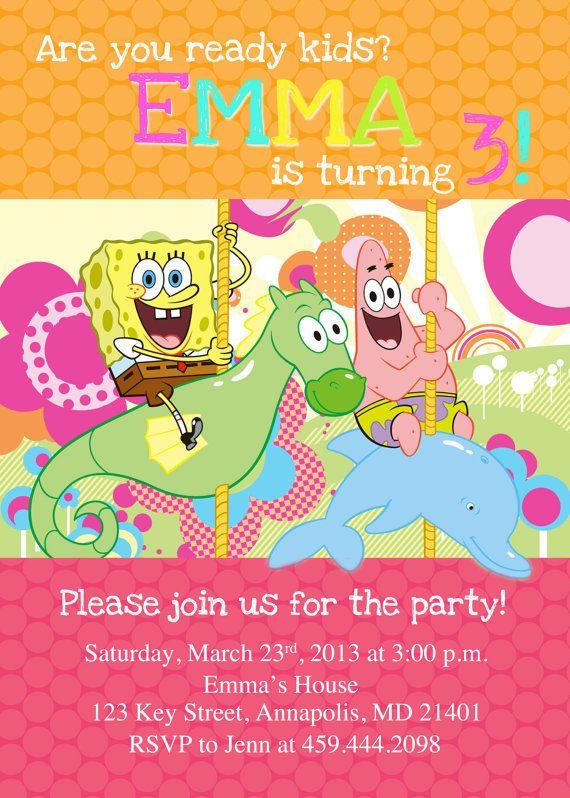 94 spongebob birthday wallpapers 23 03 2018 spongebob spongebob birthday party invitation any hair color filmwisefo